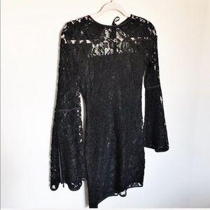 Express - Black Lace Bell Sleeve Open Back Dress